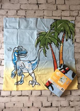 Детское постельное белье наволочка пододеяльник евро комплект динозавр