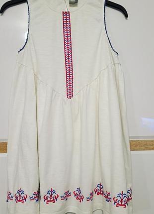 Летняя белая удлиненная блуза с вышивкой вышиванка asos