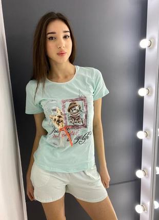 Nicoletta  футболка и шортыс/м/л/хл 95%хлопок 5%эластан  турция