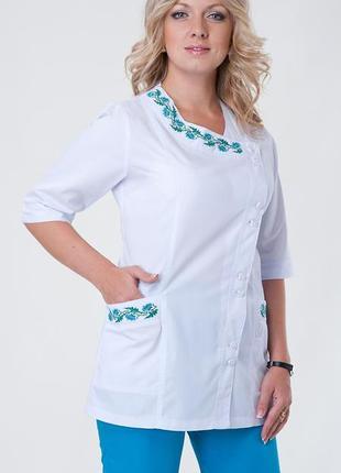 Костюм медицинский с вышивкой, батист, р. 40-56; женская медицинская одежда, 892255