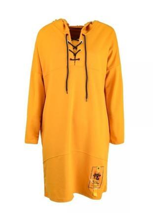 Платье свободного фасона с капюшоном свитшот худи спортивное