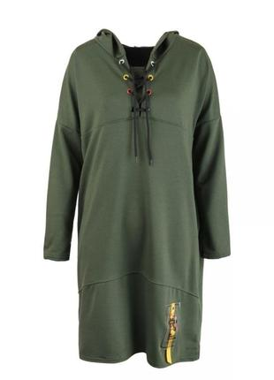 Зелёное хаки платье свободного фасона с капюшоном свитшот худи спортивное