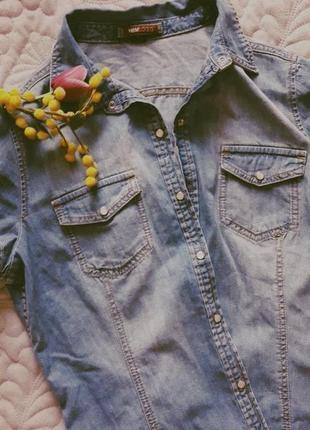 Суперская джинсовая рубашка с коротким рукавом