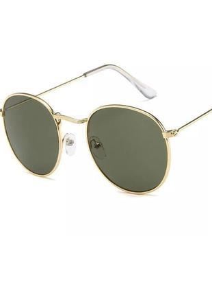 Стильные очки раунды round тёмно зелёные в золотой оправе модель унисекс
