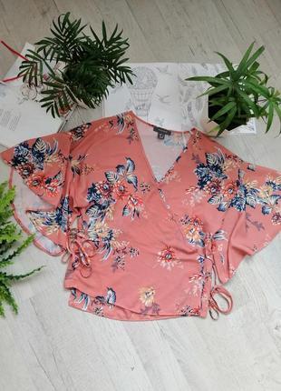 Блузка блуза кофточка на запах персиковая с цветами яркая с цветочным принтом актуальная