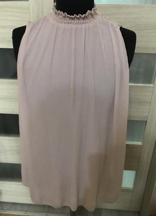 Классная пудровая  блуза , плиссе