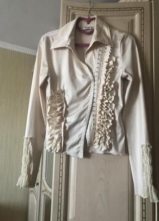 Стильная эффектная блузка блуза рубаха, оборки, рюши, vipart