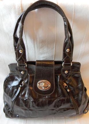 Кожаная сумка цвет шоколадный италия