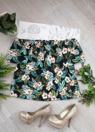 Блузка блуза кофточка ярким с цветочным принтом тропики голые плечи и спина актуальная