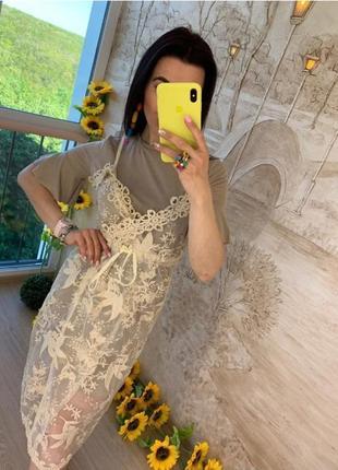 Платье двойка кружевной сарафан