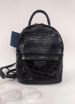 Маленький стильный рюкзачок из натуральной кожи чёрный италия