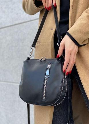 Женская кожаная сумка клатч через на плечо polina & eiterou жіноча шкіряна чорна2 фото
