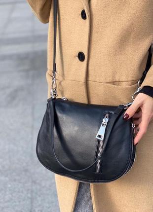 Женская кожаная сумка клатч через на плечо polina & eiterou жіноча шкіряна чорна3 фото