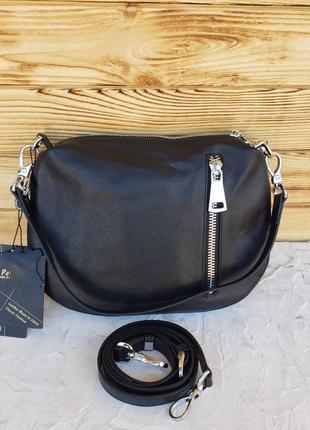 Женская кожаная сумка клатч через на плечо polina & eiterou жіноча шкіряна чорна6 фото