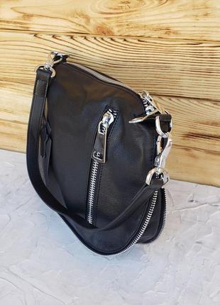 Женская кожаная сумка клатч через на плечо polina & eiterou жіноча шкіряна чорна8 фото