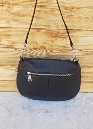 Женская кожаная сумка клатч через на плечо polina & eiterou жіноча шкіряна чорна9 фото