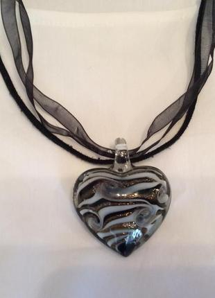 Кулон на шнурке сердце стекло италия