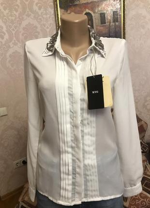 Шикарная шифоновая блуза mango с расшитым воротником