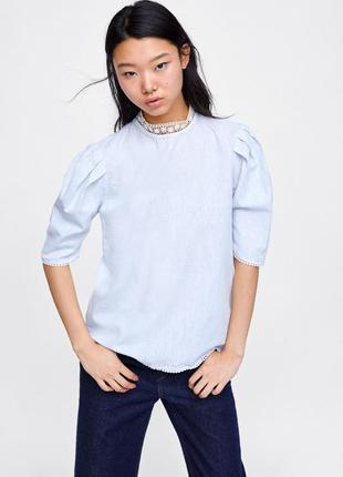 "Блуза с кружевом ""zara basic"""