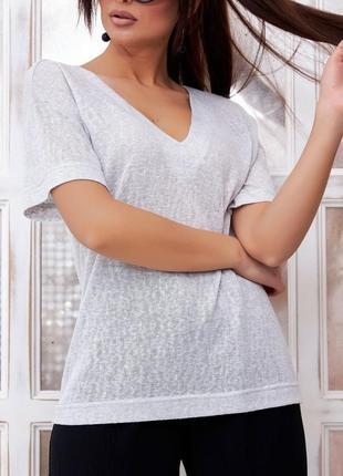 Свободная прямая трикотажная легкая блуза-футболка с v-образной горловиной (1335 svtt)