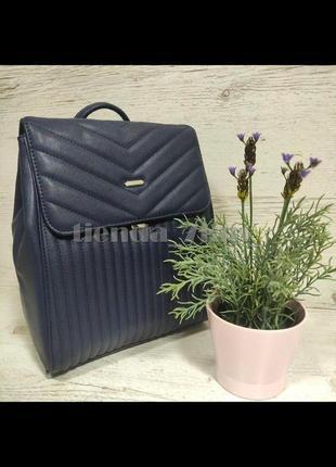 Стильный городской стеганый рюкзак david jones 6158-2 синий
