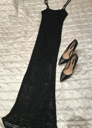 Чёрное длинное платье lucy paris