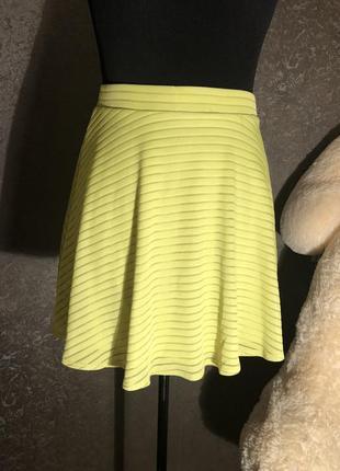Безумно красивая лимонная {салатовая} летняя юбка topshop