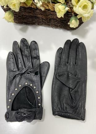 Кожаные перчатки автоледи