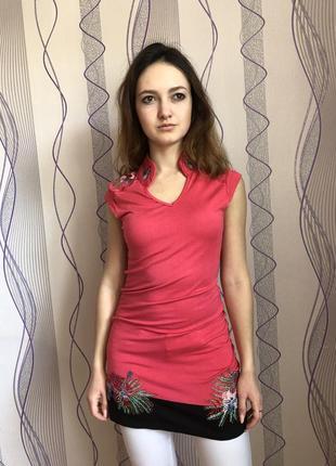 Трикотажное розовое платье/туника