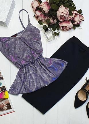 Костюм: сияющая блуза с баской + юбка карандаш