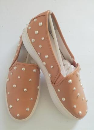 Katy perry стильные слипоны с жемчугом лоутопы