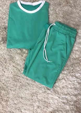 Женский спортивный костюм прогулочный костюм летний стильный трикотажный зеленый6 фото