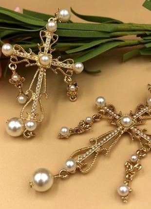 Серьги кресты барокко длинные с жемчугом