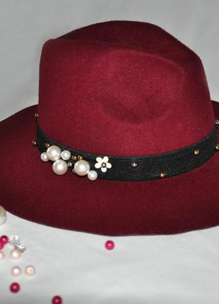 Фетровая широкополая шляпа борсалино