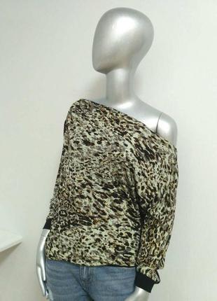 Блузон трикотажный леопардовый принт, молнии на плечах, франция just orna