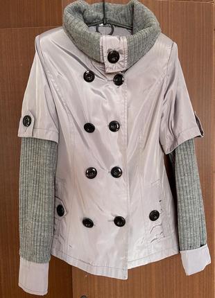 Курточка плащ на весну с вязаным рукавом