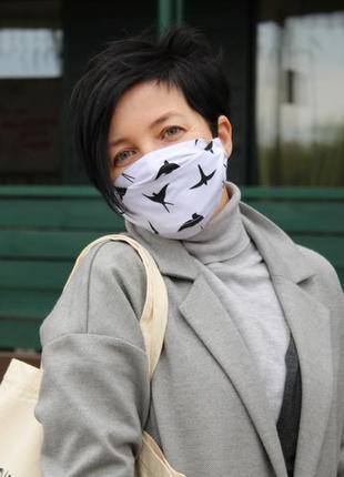 Многоразовые трёхслойные маски с кармашком для фильтров киев, многоразовая маска для лица