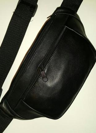 Объемная бананка из натуральной кожи, большая кожаная сумка на пояс на плечо барыжка