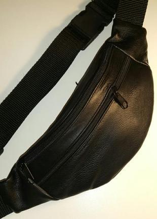 Бананка из натуральной кожи, стильная кожаная сумка на пояс на плечо