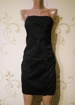 Bershka . чёрное легкое платье бюстье стрейч . стрейч котон . новое сбиркой
