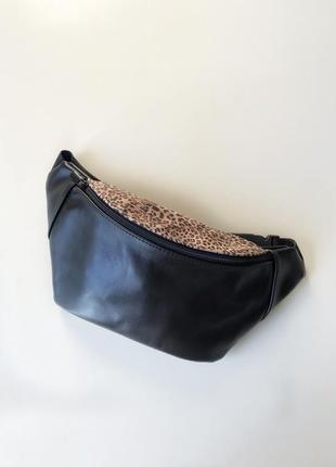 Кожаная сумка на пояс с леопардовым принтом,черная бананка,компактная сумка через плече