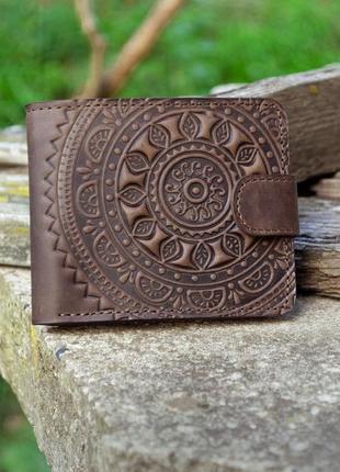 9 відділів чоловічий шкіряний гаманець коричневой з тисненням сонце