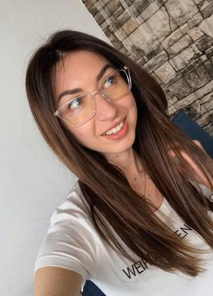 Имиджевые очки в прозрачной оправе с антибликом защита от пк/телефона/телевизора