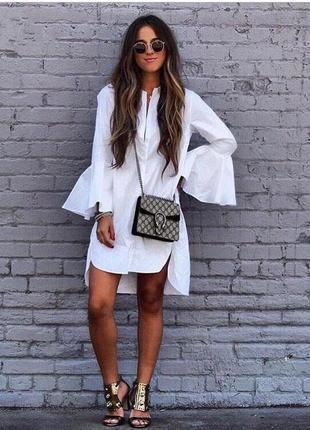 Платья-рубашки с расклешенными рукавами