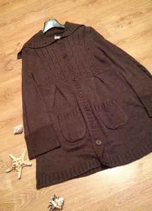 Стильный теплый кардиган полупальто под юбка джынсы брюки бренд    benotti/ l