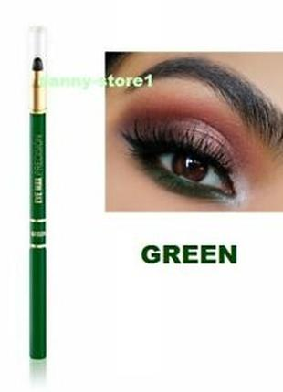 Зелёный автоматический карандаш для глаз с растушёвкой