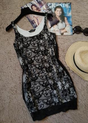 Шикарное кружевное платье майка по фигуре/сарафан