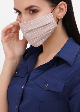 🔥new🔥 бежевая маска в горошек