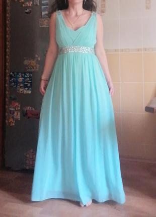 Акция 🌹вечернее голубое платье р 46-48