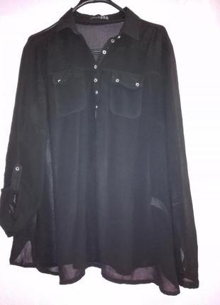 Чорная рубашка большого размера